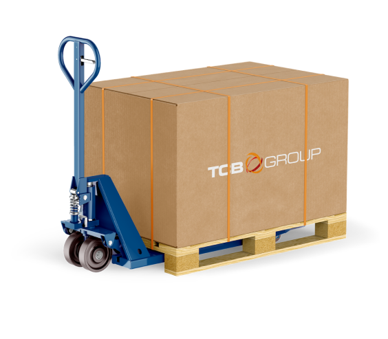 TCB logo on cardboard box