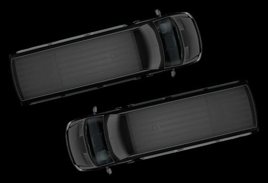 Overhead shot of two black vans